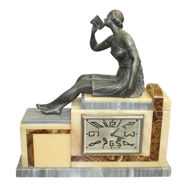 Set Of French Art Deco 3 Piece Clock Garniture Marble wit Woman Sitting h Circa 1940s - Image 1 of 11