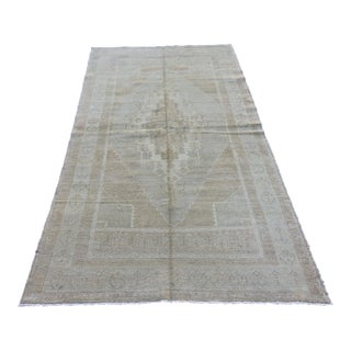 """Mid 20th Century Vintage Turkish Tribal Oushak Soft Hand Knotted Rug - 4'3"""" x 7'9"""""""