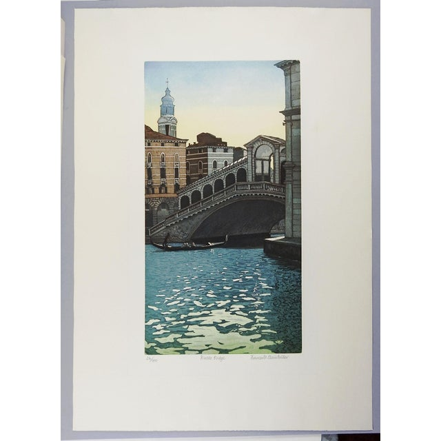 "Image of F. St. Clar Miller Venice Italy ""Rialto Bridge"" Etching"