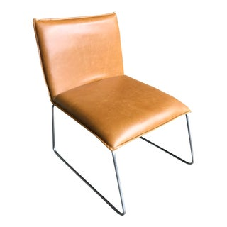 Vintage Cognac, Stainless Steel Accent Chair