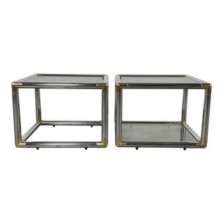 Mid-Century Modern Chrome Boxed End Tables Set