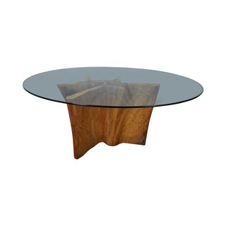 Cypress Trunk Free Form Glass Top Dining Table