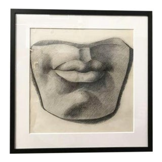 "Mid-Century ""Lips"" Charcoal Drawing"