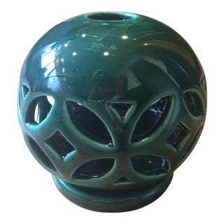 Green Glazed Italian Candle Holder