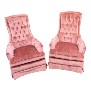 Vintage Mauve Velvet Hollywood Tufted Club Chairs - Pair