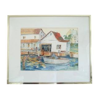 Watercolor of Jensen Beach Docks, Fl