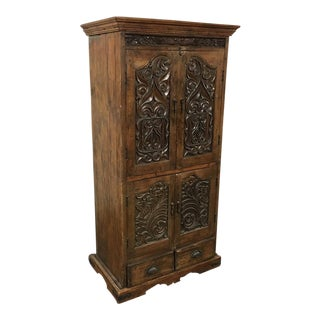 Asian Style Hand-Carved Armoire