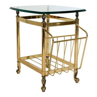 Brass Side Table w/ Magazine Holder