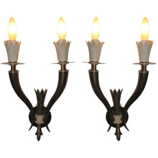Pair of Brass and Lacquer Wall Sconces Attrb. to Gio Ponti, Italy circa 1938