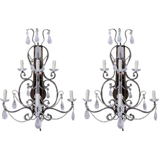 Mirrored Rock Crystal Sconces - A Pair