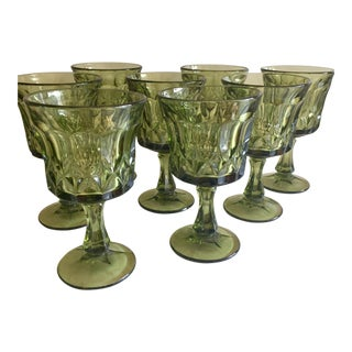 Mid Century Green Groovy Goblets - Set of 8