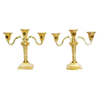 Vintage Heavy Brass Candle Holders - Pair