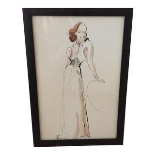 Hand Colored Fashion Drawing of Halter Gown