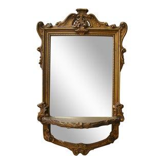 Antique French Gilt Mirror w/ Wall Shelf