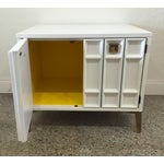 Image of Mid-Century White Carved Wood Side Table Cabinet