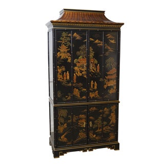 Drexel Black Chinoiserie Pagoda Top Armoire