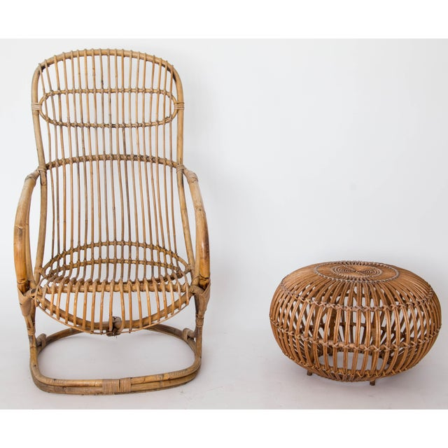 Franco Albini Rattan Lounge Chair & Ottoman - Image 8 of 11