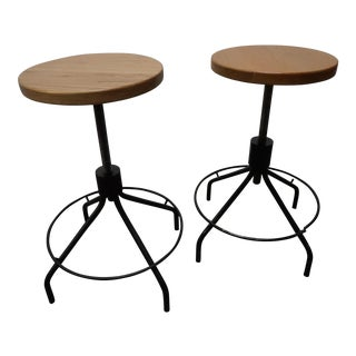 Industrial Spinning Bar Stools- a Pair
