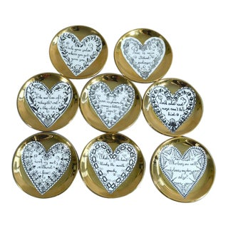Set of 8 Piero Fornasetti Porcelain Love Coasters