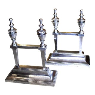 George III Period Polished Steel Fire Dogs - A Pair