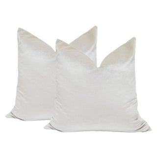 "22"" Italian Silk Velvet Pillows in Alabaster - A Pair"