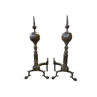 Large Brass and Iron Andirons