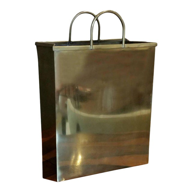1970s Spain Sarreid, Ltd. Glam Brushed Brass Shopping Bag Umbrella Stand - Image 1 of 7