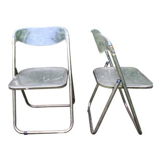 Italian Mid-Century Lucite Folding Chairs - A Pair