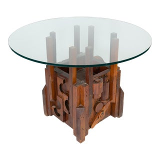 Mid-Century Brutalist Wood Dining Table or Desk Base