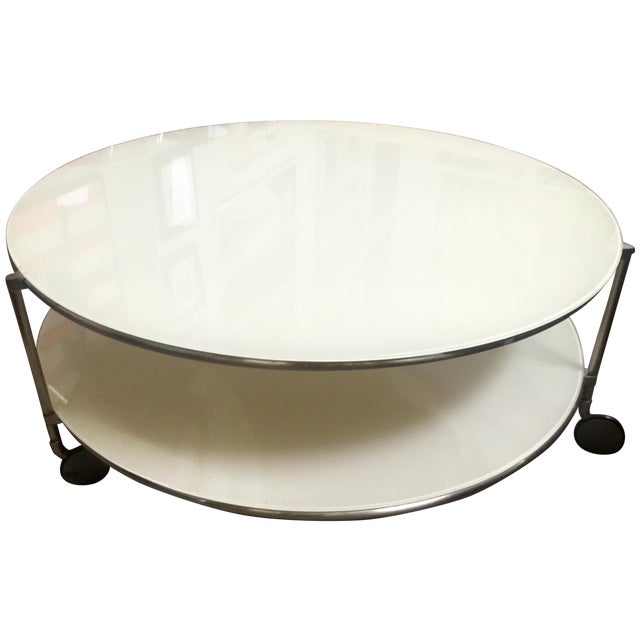 Two-Tiered White Glass Coffee Table