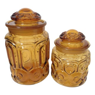 L.E. Smith Amber Moon Glass Canisters - A Pair