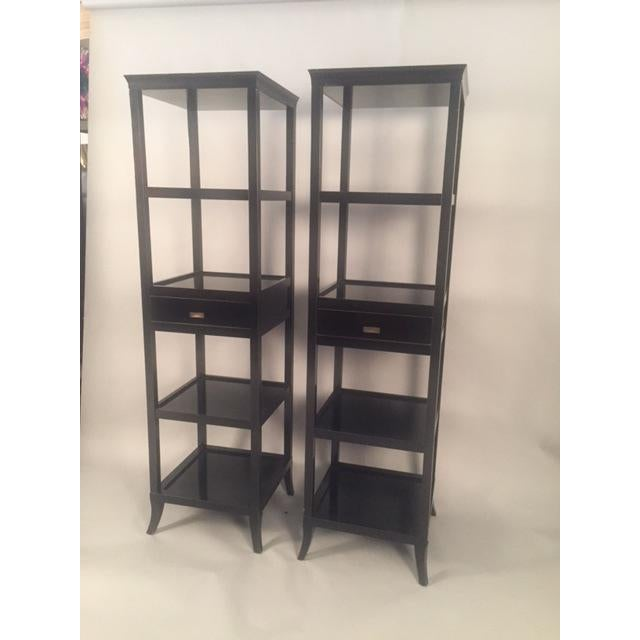 Contemporary Wood Black Lacquered Etagere Shelves - A Pair - Image 4 of 9