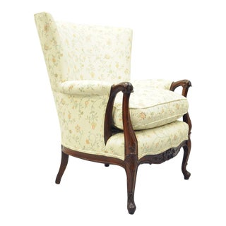 Antique French Louis XV Style Mahogany Wing Back Arm Chair
