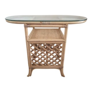 Vintage Ficks Reed Rattan Bar Table