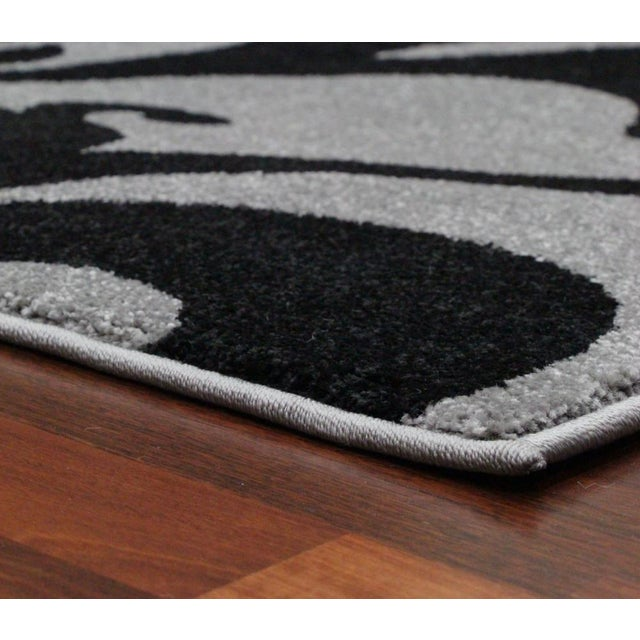 "Transitional Floral Gray & Black Rug - 5'3"" x 7'7"" - Image 5 of 6"