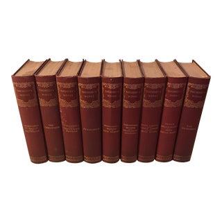 Antique Red & Gold Decorative Books - Set of 9