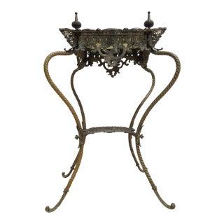 Antique Victorian Brass Marble Spider Leg Pedestal Plant Stand