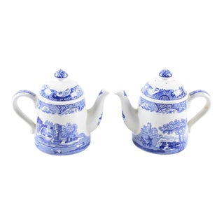 Spode Blue Italian Teapot Salt & Pepper Shakers - A Pair