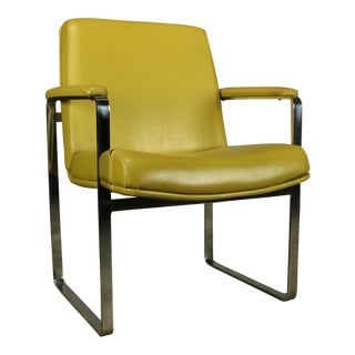 Mid-Century Modern Chromcraft-Style Chrome Flat-Bar Chair