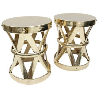 Polished Brass Garden Tables - A Pair