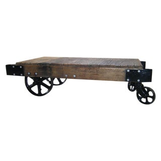 Antique Industrial Wood & Iron Factory Cart Table