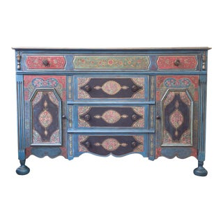 Cloisonne Inspired Hand Painted Credenza