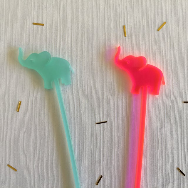 Hot Pink Elephant Drink Stirrers - Set of 6 - Image 3 of 6