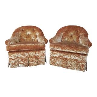 Lee Jofa Hollywood Regency Tufted Back Plush Velvet Velour Swivel Club Chairs - A Pair