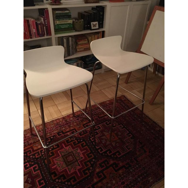 Crate & Barrel White & Chrome Bar Stools - A Pair - Image 4 of 7