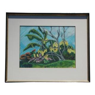 Vintage Tropical Hawaiian Landscape Pastel Drawing