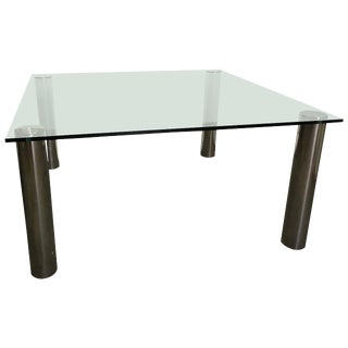 Pace Oversized Square Chrome and Glass Dining Table