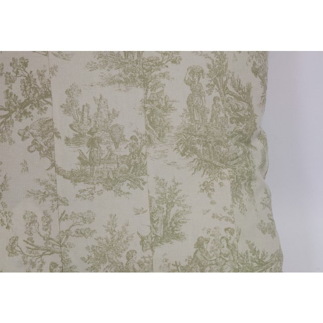 Deconstructed Green & Cream Toile Pillow - Image 4 of 4