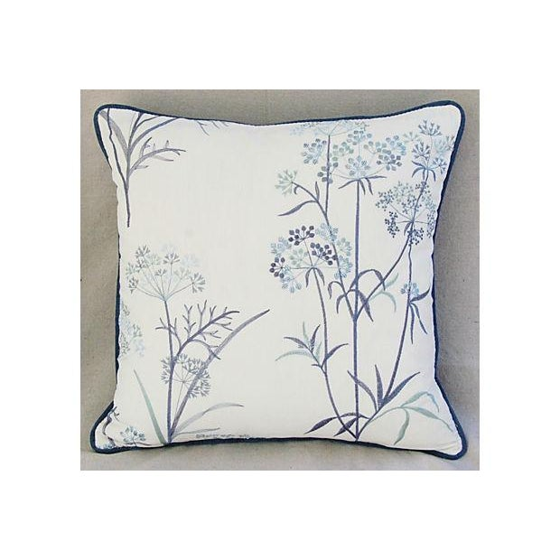 Designer Embroidered Blue Flower Pillows - A Pair - Image 7 of 8