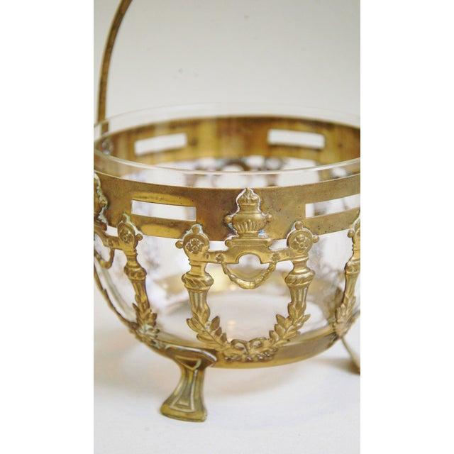 Antique Brass Filigree & Crystal Basket - Image 10 of 10